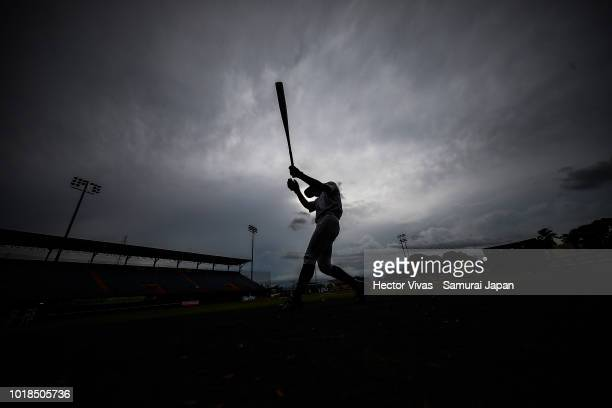 Seiya Fukuhara of Japan warms up before the WBSC U15 World Cup Group B match between Japan and Dominican Republic at Estadio Rico Cedeno on August 13...
