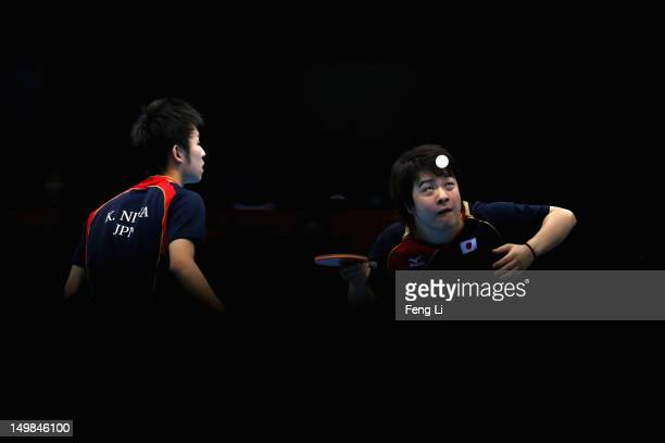 Seiya Kishikawa and Koki Niwa of Japan competes during Men's Team Table Tennis quarterfinal match against team of Hong Kong, China on Day 9 of the...