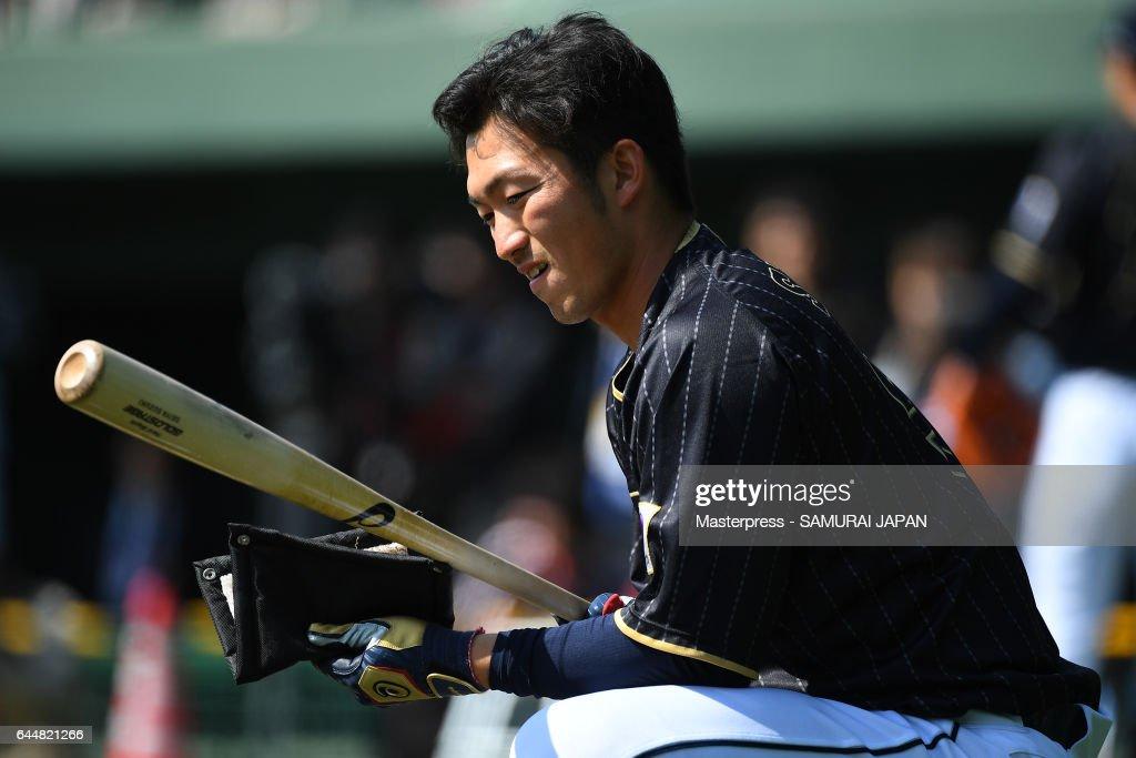 Seiya Suzuki #51 of Japan looks on during SAMURAI JAPAN's training camp at the Sun Marine Stadium Miyazaki on February 24, 2017 in Miyazaki, Japan.