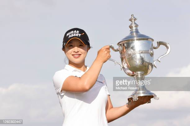 Sei-Young Kim of Korea poses with the Rolex Player of the Year trophy after the final round of the CME Group Tour Championship at Tiburon Golf Club...