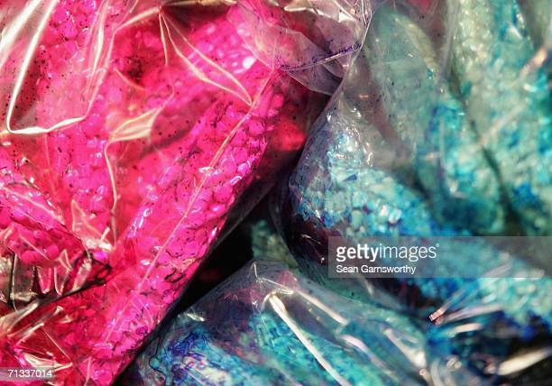 Seized Ecstasy tablets are displayed at the Australian Federal Police headquarters June 30 2006 in Melbourne Australia The Australian Federal Police...