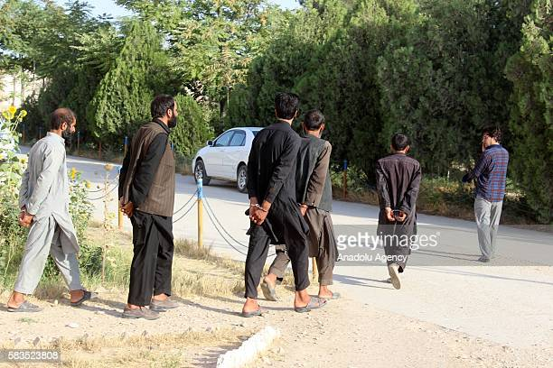 Seized Taliban terrorists are seen after they caught with an operation, staged by Afghani security forces in Cevizcan province of Afghanistan on July...
