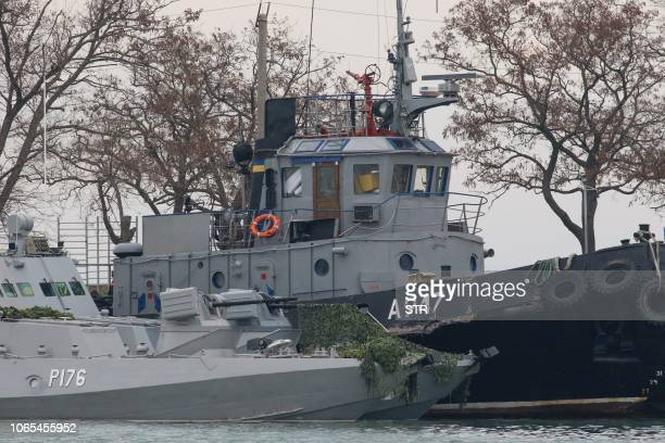 Seized Ukrainian military vessels are seen in a port of Kerch Crimea on November 26 2018 Kiev and Moscow faced their worst crisis in years on...