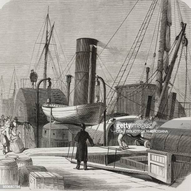 Seizure of casks with arms and ammunition on board the Dublin steamer Windsor illustration from the magazine The Illustrated London News volume LVI...