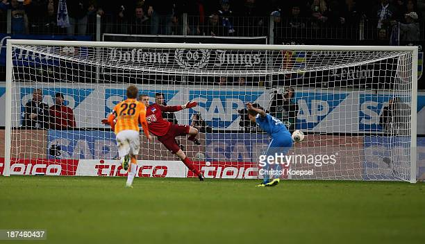 Seja Salihovic of Hoffenheim scores the first goal of Hoffenheim by penalty against Michael Kraft of Berlin during the Bundesliga match between TSG...