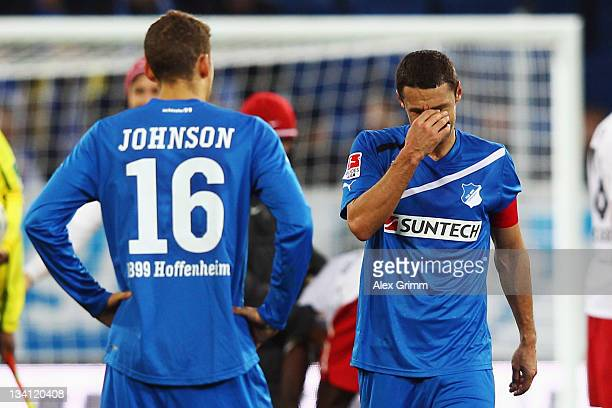 Sejad Salihovic and Fabian Johnson of Hoffenheim react after the Bundesliga match between 1899 Hoffenheim and SC Freiburg at RheinNeckarArena on...