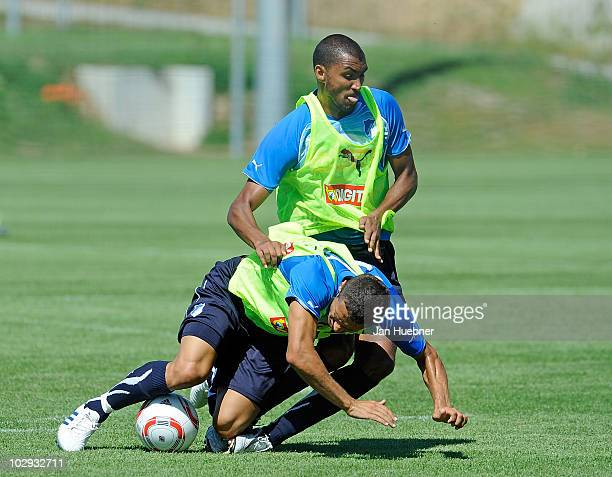 Sejad Salihovic and Marvin Compper battle for the ball during the TSG Hoffenheim first training session for the upcoming season 2010/2011 on July 16...