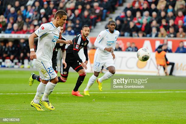 Sejad Salihovic of 1899 Hoffenheim scores his team's first goal from the penalty spot during the Bundesliga match between Bayer Leverkusen and 1899...