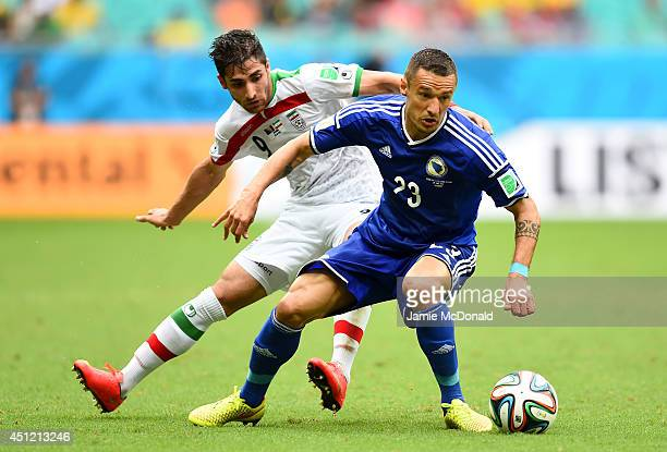 Sejad Salihovic of Bosnia and Herzegovina and Alireza Jahan Bakhsh of Iran compete for the ball during the 2014 FIFA World Cup Brazil Group F match...