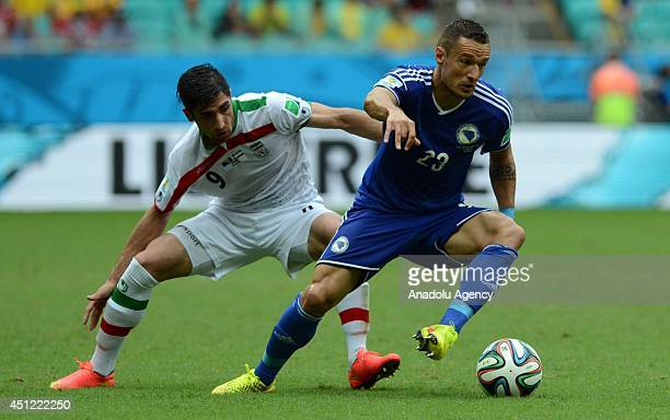 Sejad Salihovic of BosniaHerzegovina and Alireza Jahan Bakhsh of Iran vie for the ball during the 2014 FIFA World Cup Group F soccer match between...