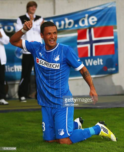 Sejad Salihovic of Hoffenheim celebrates his team's second goal during the Bundesliga match between 1899 Hoffenheim and Hannover 96 at...