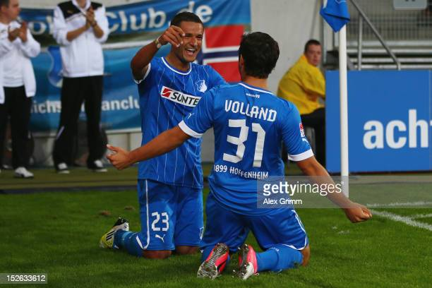 Sejad Salihovic of Hoffenheim celebrates his team's second goal with team mate Kevin Volland during the Bundesliga match between 1899 Hoffenheim and...