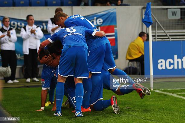 Sejad Salihovic of Hoffenheim celebrates his team's second goal with team mates during the Bundesliga match between 1899 Hoffenheim and Hannover 96...