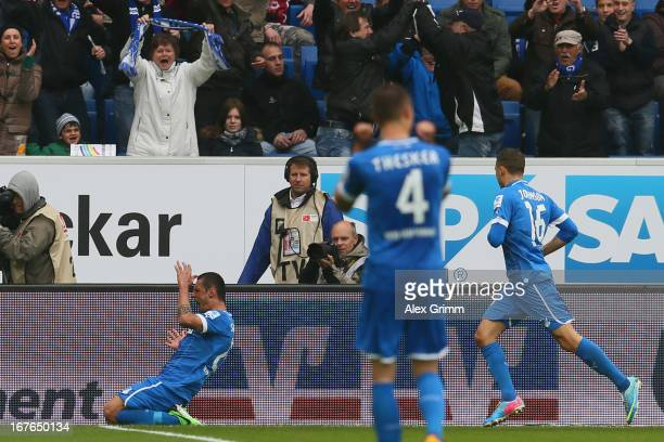 Sejad Salihovic of Hoffenheim celebrates his team's second goal with team mates Stefan Thesker and Fabian Johnson during the Bundesliga match between...