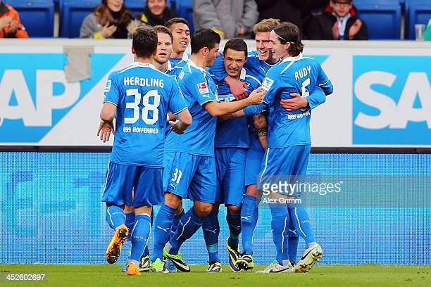 Sejad Salihovic of Hoffenheim celebrates his team's second goal with team mates during the Bundesliga match between 1899 Hoffenheim and Werder Bremen...