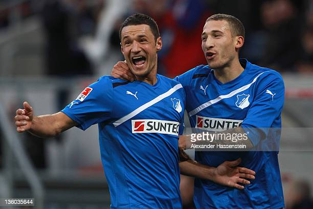 Sejad Salihovic of Hoffenheim celebrates scoring the opening goal with his team mate Fabian Johnson during the Bundesliga match between TSV 1899...