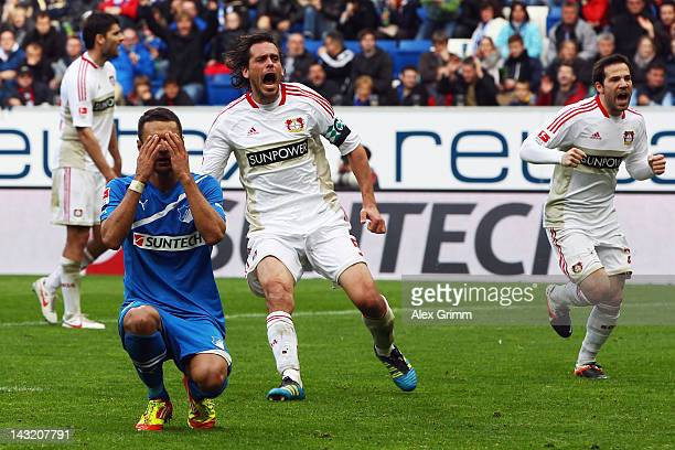 Sejad Salihovic of Hoffenheim reacts after missing a penalty during the Bundesliga match between 1899 Hoffenheim and Bayer 04 Leverkusen at...