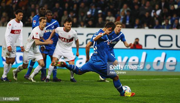 Sejad Salihovic of Hoffenheim scores his team's second goal with a penalty during the Bundesliga match between 1899 Hoffenheim and VfB Stuttgart at...
