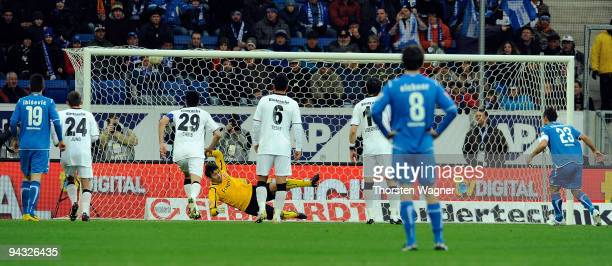 Sejad Salihovic of Hoffenheim scores the opening goal with a penalty during the Bundesliga match between TSG 1899 Hoffenheim and Eintracht Frankfurt...
