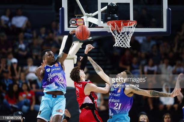 Sek Henry of the Breakers blocks the shot from LaMelo Ball of the Hawks during the round 9 NBL match between the New Zealand Breakers and the...