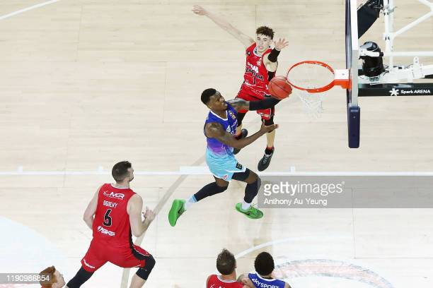Sek Henry of the Breakers goes to the basket against LaMelo Ball of the Hawks during the round 9 NBL match between the New Zealand Breakers and the...