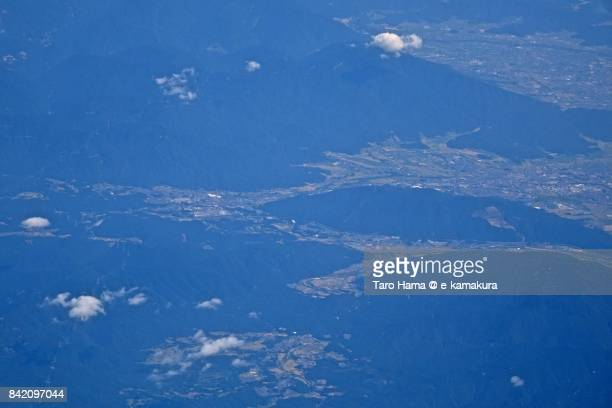 Sekigahara town in Gifu prefecture daytime aerial view from airplane
