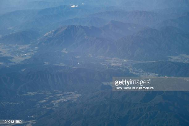 Sekigahara town in Gifu prefecture in Japan daytime aerial view from airplane