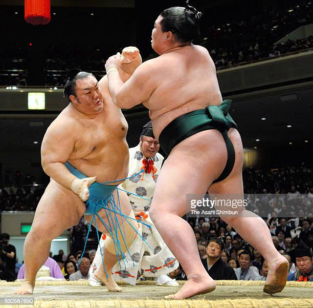 Sekiwake Kotoyuki and Shodai compete during day eleven of the Grand Sumo Summer Tournament at the Ryogoku Kokugikan on May 18 2016 in Tokyo Japan