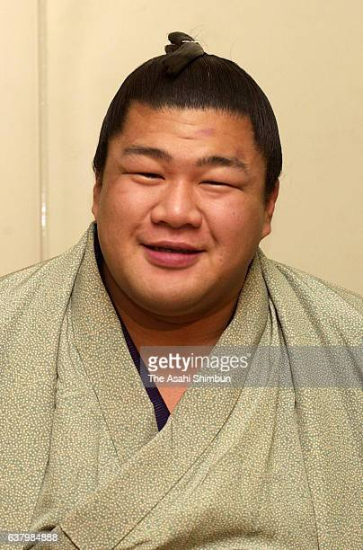 Sekiwake Musoyama speaks during a press conference a day after winning the New Year tournament at Musashigawa Stable on January 24, 2000 in Tokyo,...