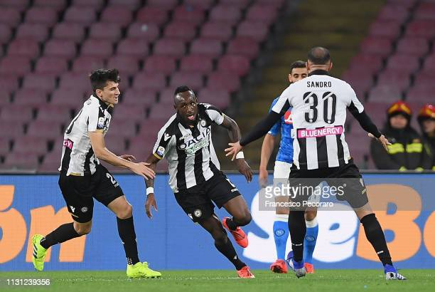 Seko Fofana and Ignacio Pussetto of Udinese celebrate the 22 goal scored by Seko Fofana during the Serie A match between SSC Napoli and Udinese at...