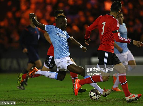 Seko Fofana of Manchester City scores the opening goal during the UEFA Youth League Quarter Final match between Manchester City v SL Benfica at Ewen...