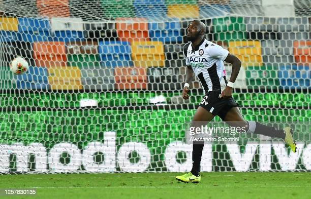 Seko Fofana of Udinese Calcio celebrates after scoring his team second goal during the Serie A match between Udinese Calcio and Juventus at Stadio...