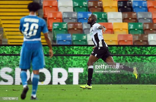 Seko Fofana of Udinese Calcio celebrates after scoring his team's second goal during the Serie A match between Udinese Calcio and Juventus at Stadio...