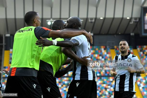 Seko Fofana of Udinese Calcio celebrates after scoring the opening goal during the Serie A match between Udinese Calcio and Genoa CFC at Stadio...