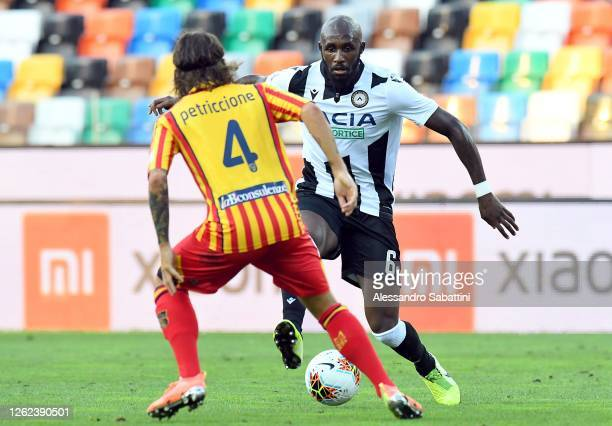 Seko Fofana of Udinese Calcio in action during the Serie A match between Udinese Calcio and US Lecce at Stadio Friuli on July 29, 2020 in Udine,...