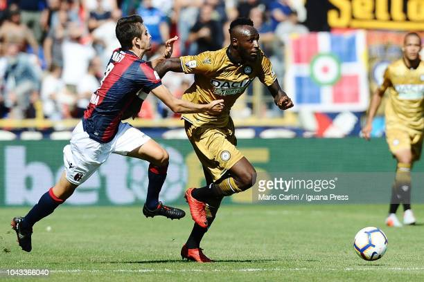 Seko Fofana of Udinese in action during the Serie A match between Bologna FC and Udinese at Stadio Renato Dall'Ara on September 30 2018 in Bologna...