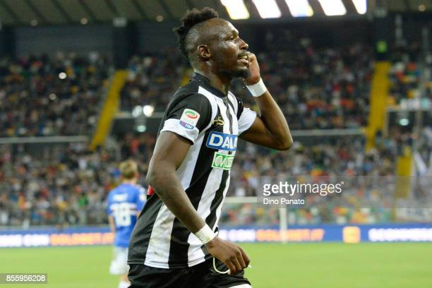 Seko Mohamed Fofana of Udinese Calcio celebrates after scoring his team's fourth goal from the penalty spot during the Serie A match between Udinese...