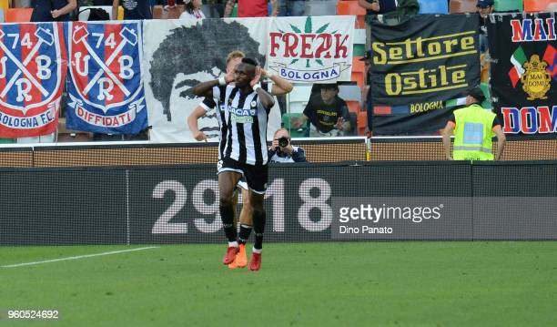 Seko Mohamed Fofana of Udinese celebrates after scoring his opening goal during the Serie A match between Udinese Calcio and Bologna FC at Stadio...
