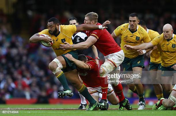 Sekope Kepu of Australia charges upfield during the international match between Wales and Australia at the Principality Stadium on November 5 2016 in...