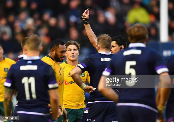 Sekope Kepu of Australia is shown a red card during the international match between Scotland and Australia at Murrayfield Stadium on November 25 2017...