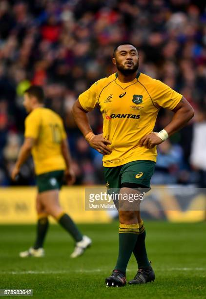 Sekope Kepu of Australia reacts to being shown a red card during the international match between Scotland and Australia at Murrayfield Stadium on...