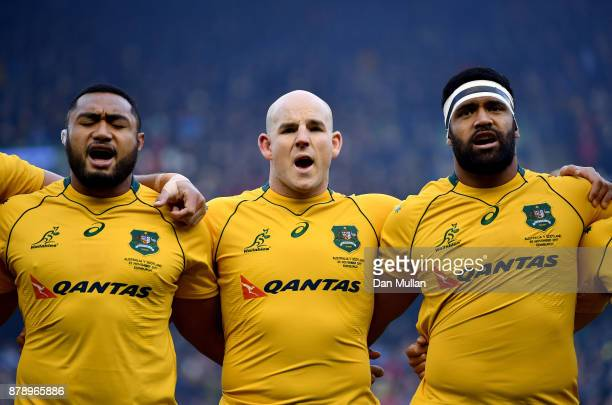 Sekope Kepu of Australia Stephen Moore of Australia and Scott Sio of Australia line up prior to the international match between Scotland and...