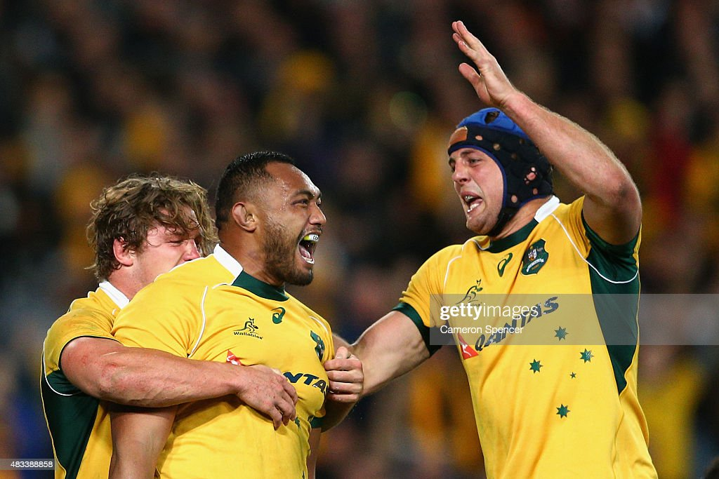 Sekope Kepu of the Wallabies celebrates scoring a try during The Rugby Championship match between the Australia Wallabies and the New Zealand All Blacks at ANZ Stadium on August 8, 2015 in Sydney, Australia.
