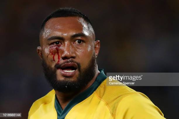 Sekope Kepu of the Wallabies heads to the blood bin during The Rugby Championship Bledisloe Cup match between the Australian Wallabies and the New...