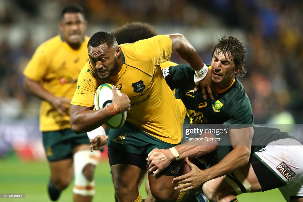 Sekope Kepu of the Wallabies is tackled during The Rugby Championship match between the Australian Wallabies and the South Africa Springboks at nib Stadium on September 9, 2017 in Perth, Australia.