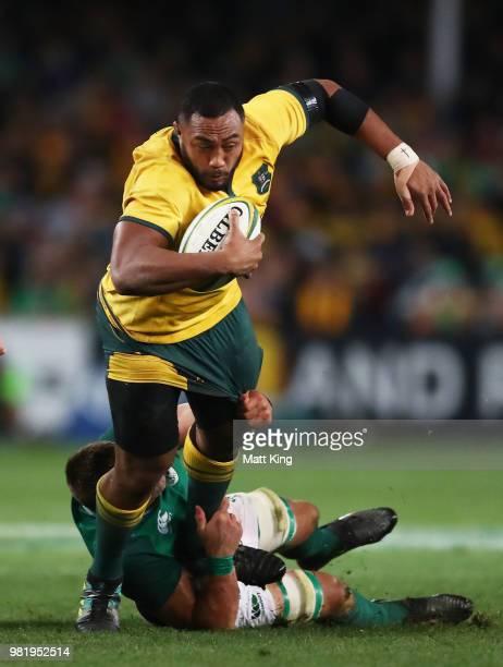 Sekope Kepu of the Wallabies is tackled during the Third International Test match between the Australian Wallabies and Ireland at Allianz Stadium on...