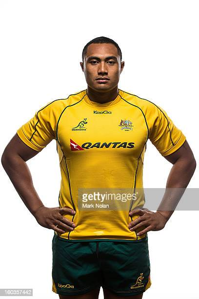 Sekope Kepu poses during an Australian Wallabies Portrait session at Coogee Crowne Plaza on January 14 2013 in Sydney Australia