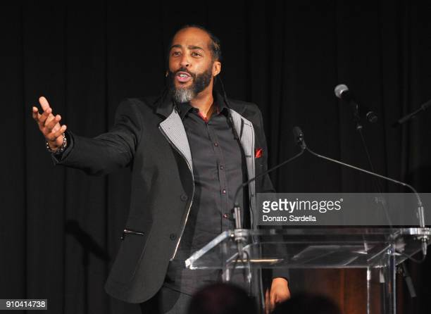 Sekou Andrews speaks onstage during Learning Lab Ventures Gala in Partnership with NETAPORTER on January 25 2018 in Beverly Hills California