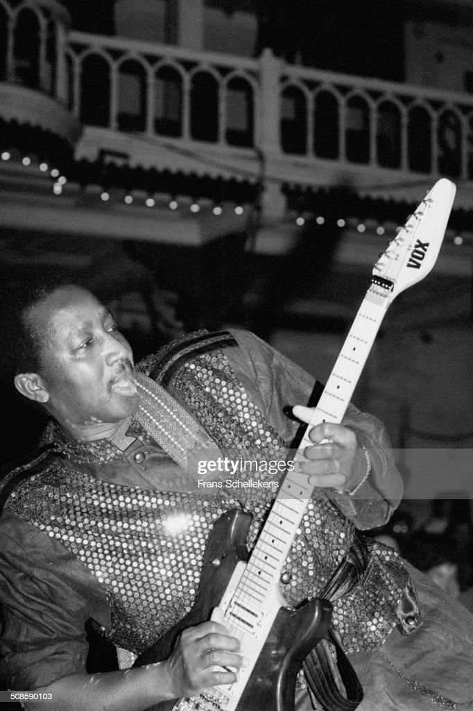 Sekou Diabate, guitar, performs with Bembeya Jazz Orchestra at the Paradiso on 18th December 1994 in Amsterdam, Netherlands.