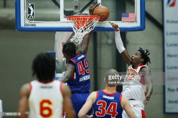 Sekou Doumbouya of the Grand Rapids Drive blocks Kenny Gabriel of the College Park Skyhawks during the second half of an NBA GLeague game on December...